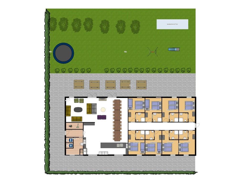 Plattegrond: T/m 30 april 2020: 24 personen/8 kamers
