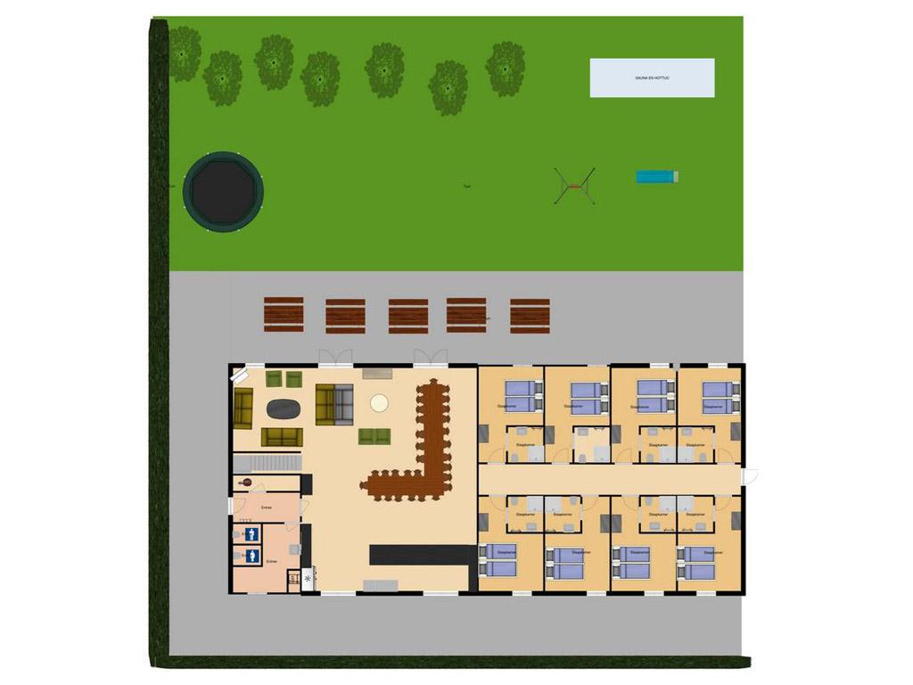 Plattegrond: Vanaf 1 mei 2020: 30 personen/13 kamers